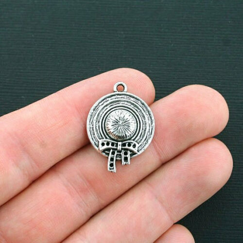 SC4298 6 Hat Charms Antique Silver Tone 2 Sided Bonnet or Sunhat