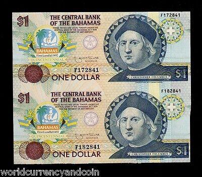 Nice CIRC Details about  /Bahamas P.50 1 Dollar 1992 Columbus Commem 1 of each pfx ABCDEF