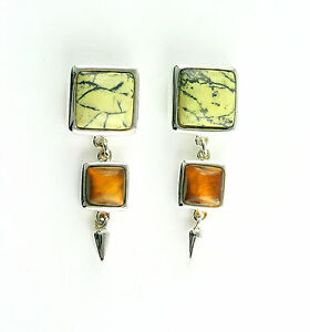 VINTAGE-Sterling-Silver-Serpentine-and-Tiger-039-s-Eye-Stud-Earrings-Free-shipping