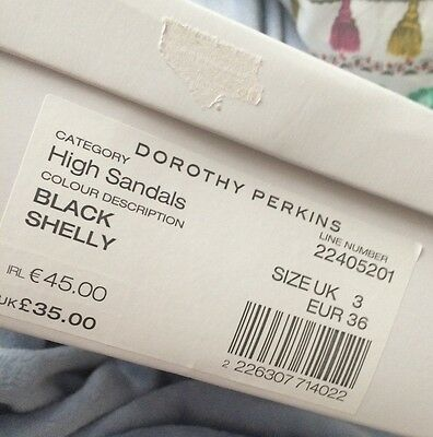 PVP £ 35 Dorothy Perkins Negro Lasercut detalle Tacones Talla 3 Nuevo