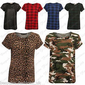 Ladies-Women-Tartan-Camouflage-Turn-Up-Short-Sleeve-Top-T-Shirt-Plus-Size-8-26