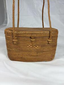 Delightful Structured Woven Rattan Mini- Shoulder Bag
