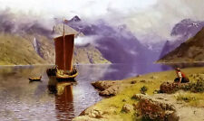 Oil painting Hans Dahl - awaiting his return girl by the river Norway landscape