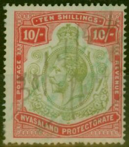 Nyasaland 1913 10s Pale Green & Dp Scarlet-Green SG96b Nick in Top Right Scro...
