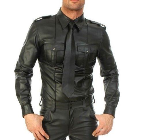 da Bluf Camicia uomo stile maniche vera Full nera da Gay in pelle in militare polsino qwU7rCxwt