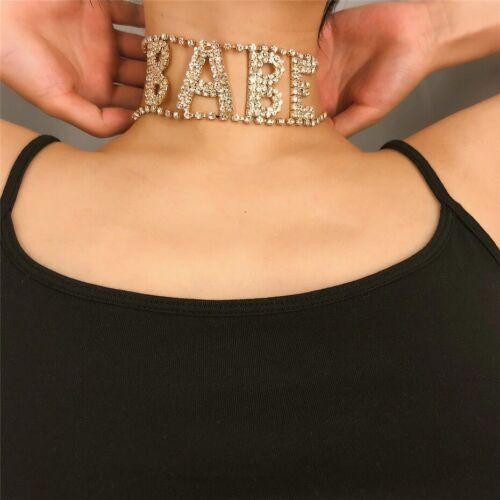 Gold BABE Diamante Rhinestone Crystal Encrusted Choker Necklace Day Collar Sub