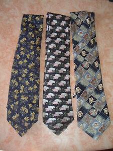 lot de 3 cravates soie polyester  homme occasion
