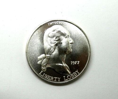 1977 Liberty Lobby GEORGE WASHINGTON Integrity 1 Troy Oz 999 Silver Round Coin