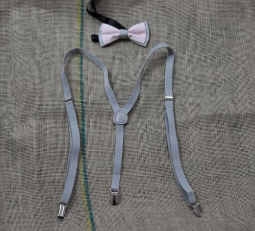 BOYS BABY KIDS Braces Suspenders 100/% Cotton Grey and Pink Bow Tie 1-8 Years Old