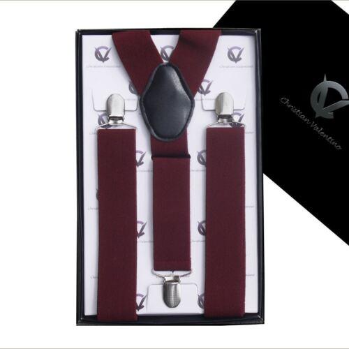 Men/'s Burgundy Y3.5cm Braces  Mens Suspenders