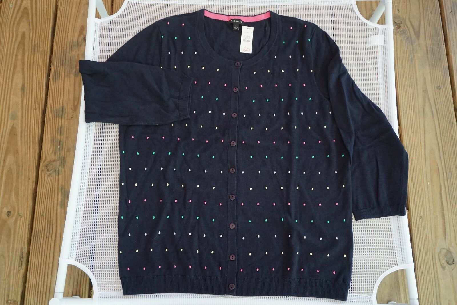 TALBOTS NWT  89.50 COTTON BLEND NAVY FRENCH KNOTS CHARMING CARDIGAN SIZE LARGE