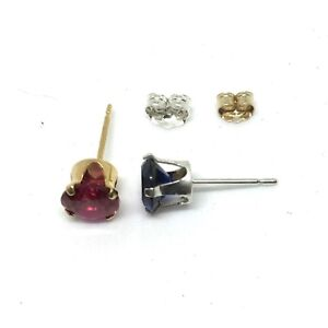 Genuine Created 6mm Ruby Or Sapphire Stud Earrings With 925 Silver Or Gold Filled Setting eqDJ5YY4mr