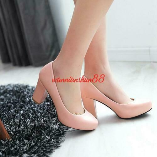 Chic Women Round Toe Chunky Heel Mary Jane Casual Office Shoes Pumps Big Size47