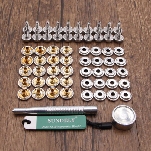 62pcs 15mm Snap Fastener Kit Boat Canopy Stainless Canvas To Screw Press
