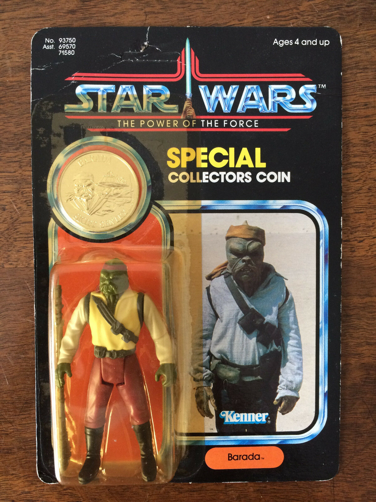 STAR WARS THE POWER OF THE FORCE FIGURINE BARADA BLISTER COLLECTOR COIN 1984