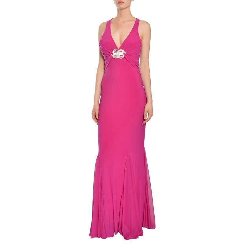 Mary L. Couture Magenta Pink Jersey Knit Gown Dress10