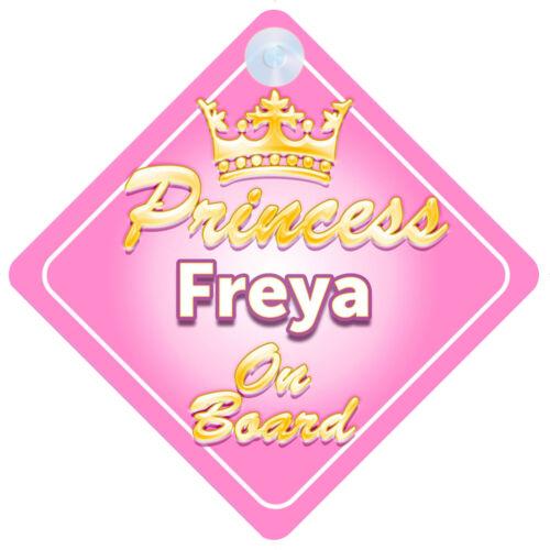 Crown Princess Freya On Board Personalised Baby Girl Car Sign