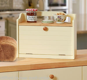 Country-Kitchen-Large-Wooden-Bread-Bin-Box-Buttermilk-Cream-with-Gallery-Shelf