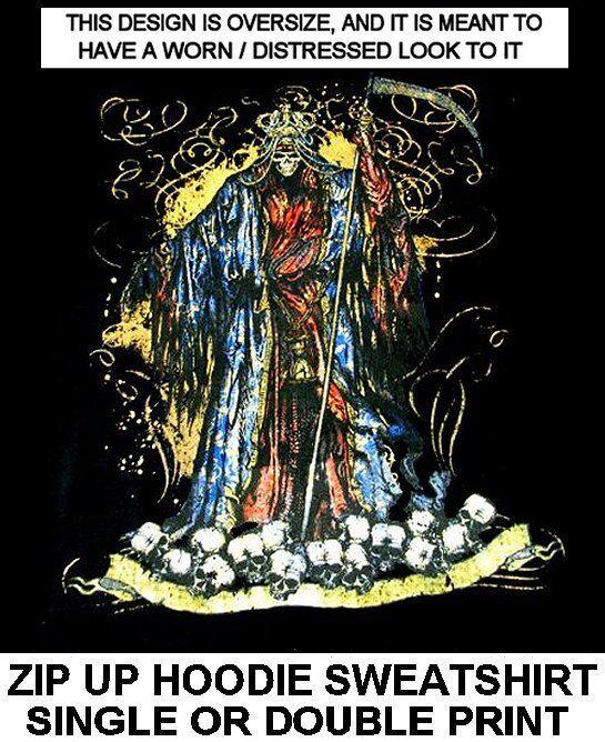 EVIL KING REAPER OF DEATH SKELETON WANTS YOUR SKULL GOTHIC ZIP HOODIE SWEATSHIRT