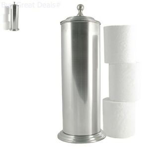 Image Is Loading Brushed Nickel Holder Bathroom Tissue Stand Lid Extra