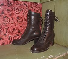 VINTAGE  1990'S BROWN CHUNKY HEEL GRUNGE HIPPIE LACE UP GRANNY BOOTS! SZ 8.5