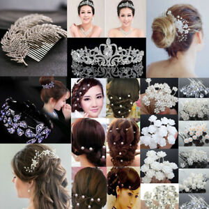 Wedding-Bridal-Crown-Hair-Comb-Pearl-Crystal-Hair-Pin-Clip-Accessories-Jewelry