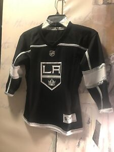 brand new 9ac17 a13a1 Details about NHL PRESCHOOL L A KINGS HOME REPLICA HOCKEY JERSEY SIZE 4/7  BLACK