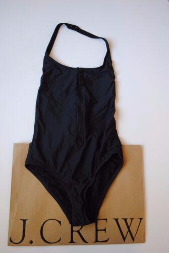 NWT J Crew Zip Front One Piece Swimsuit Tank Dark Charcoal Sz 2 XS B8857 $98