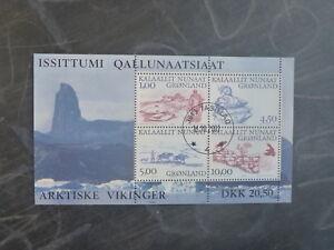 2001-GREENLAND-ARCTIC-VIKINGS-4-STAMP-MINI-SHEET-USED