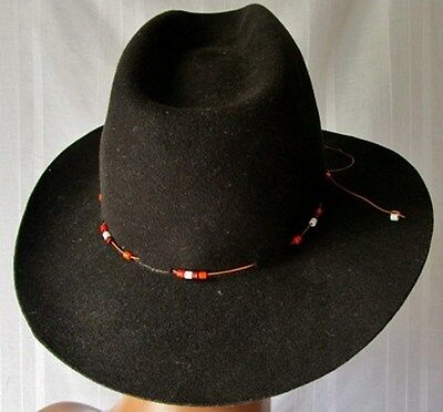 ***hatattack New York Donna Cappello Hat Tg.m In Wool Lana 100% Marrone Perline