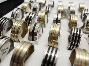 15-X-LOTS-GOLD-SILVER-BLACK-ENAMEL-STAINLESS-STEEL-RINGS-WHOLESALE-BULK-LOTS