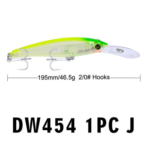 46.5g Fishing Outdoor Useful Tackle Lures Fish Hooks Minnow Baits 2//0# Hook