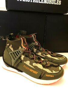 PLEIN-SPORT-RUNNER-PHANTOM-II-sneakers-size-42-UK-8-in-green-S19S-MSC-1863