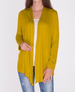 Open Front Mustard Yellow Draped Cardigan Top Shirt Sweater Career ...