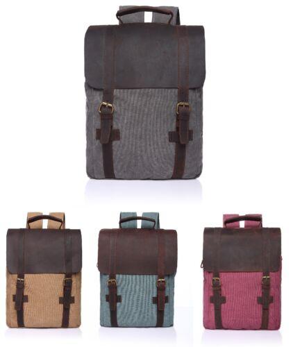 Men Women Vintage Canvas Backpack Genuine Leather Travel Rucksack Laptop Bag