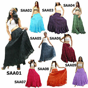 Skirt-SAA1-9-Plain-Long-Cotton-Tiered-Broomstick-Casual-Boho-Gypsy-Peasant-Women