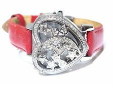 Ladies Jojo Heart Shaped Stainless Steel White Diamond Red Band Watch