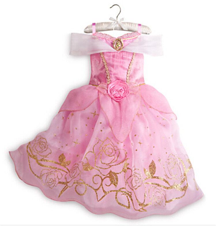 Mädchen Prinzessin Kostüm Kinder Aurora Rapunzel Cinderella Karneval Party Kleid 3