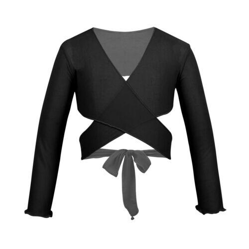Girls Kids Ballet Dance Shrug Crop Top Gymnastics Wrap Cardigan Jacket Dancewear