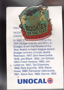 VINTAGE-L-A-DODGERS-UNOCAL-PIN-UNUSED-ROOKIE-OF-THE-YEAR