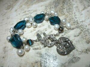 Blue glass pearl beaded bracelet