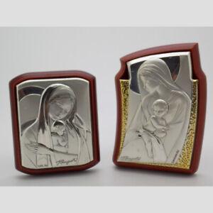 2-x-925-VINTAGE-IN-STERLING-SILVER-Lamina-foglio-ITALIAN-made-in-legno-sacro-icone