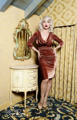 Deadly Dames Film Noir Dress, Brown, Pinupgirl Clo