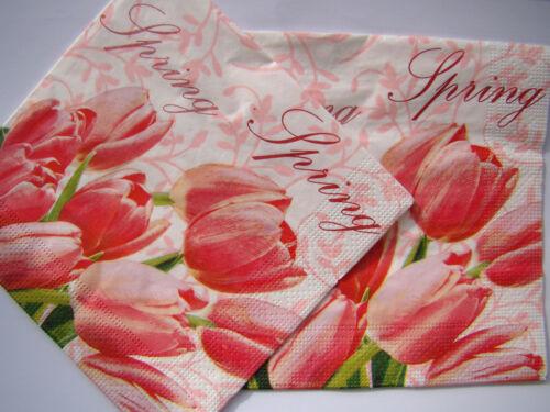 4 sets paper napkins,tulips,spring,chrysanthemum,serviette,33cm 2pcs,decoupage