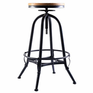 Awe Inspiring Details About Heavy Duty Black Backless Metal Bar Stool Wood Seat Adjustable Height Footrest Squirreltailoven Fun Painted Chair Ideas Images Squirreltailovenorg
