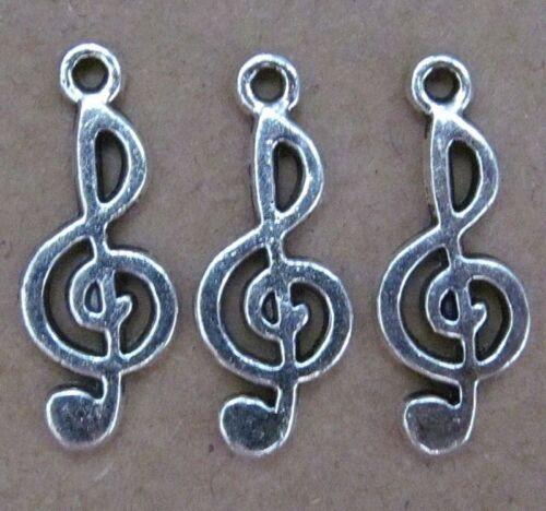 PJ12 12pc Retro Tibetan Silver Charm Music Beads Accessories Jewelry Findings