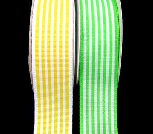 5 Yds Yellow or Green /& White Stripes Striped Ribbon 7//8/""