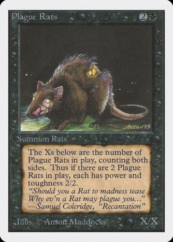 Plague Rats Unlimited HEAVILY PLD Black Common MAGIC THE GATHERING CARD ABUGames