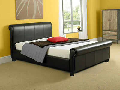 Monza 4ft6 Double 5ft King Size Leather Sleigh Bed Frame Black or Brown *SALE*