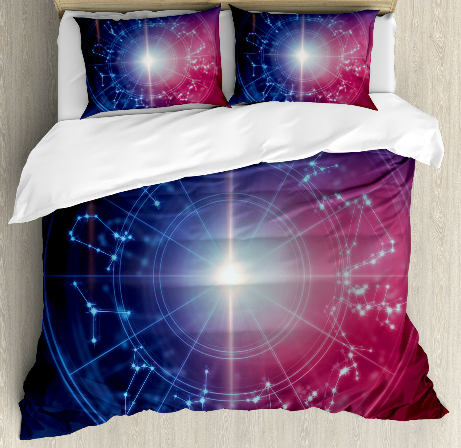 Astrology Duvet Cover Set with Pillow Shams Connected Dots Signs Print